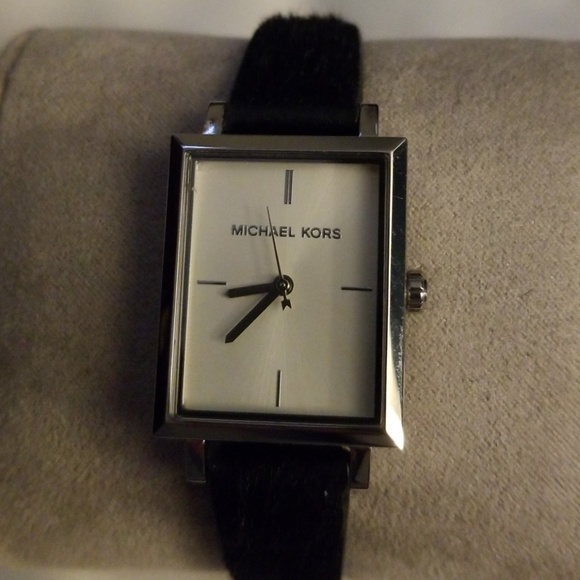 Michael Kors rectangle face watch faux fur band
